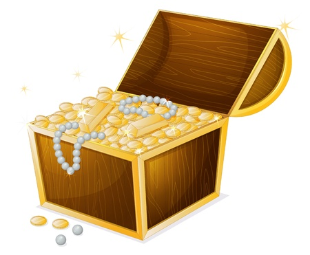 illustration of a jewellery and a box on a white background Illustration
