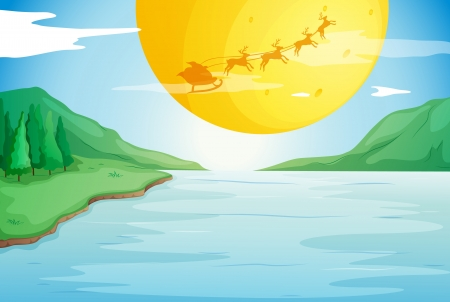 illustration of a river and a moon in a beautiful nature Vector