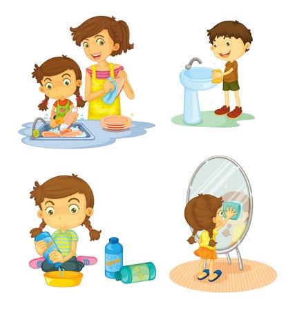dish washing: illustrazione dei bambini su uno sfondo bianco