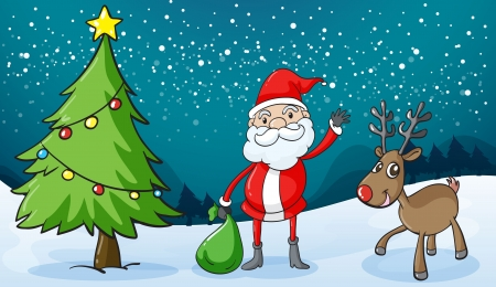 detailed illustration of a reindeer and santaclause Vector
