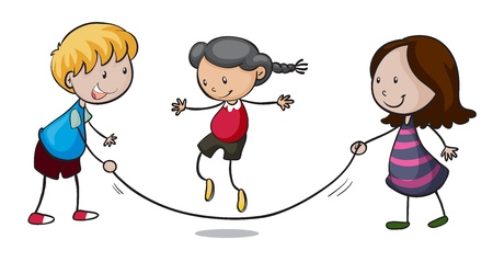 skipping rope: illustration of playing kids on a white background