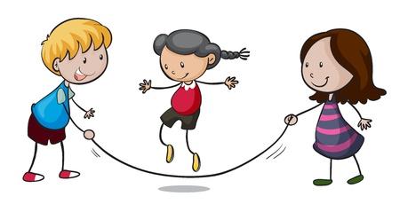 saltar la cuerda: Ilustración de niños jugando en un fondo blanco Vectores