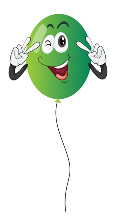 detailed illustration of a green balloon on a white background Vector