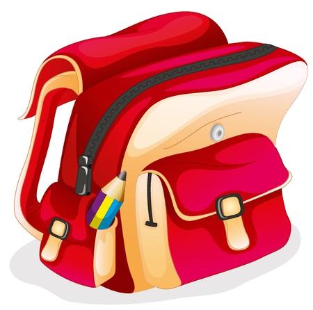 バックパック: 白い背景の上の学校のバッグのイラスト