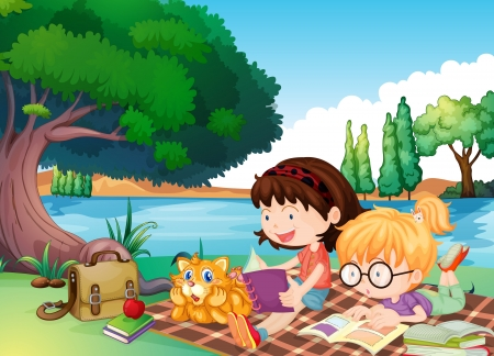 kids reading book: illustration of girls and a cat in a beautiful nature