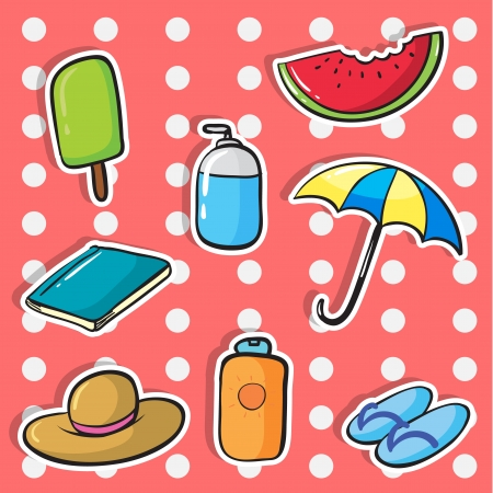 illustration of various objects on a white background Vector