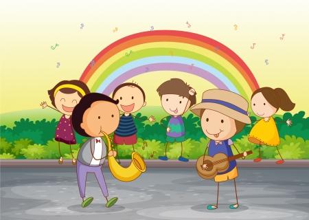 природа: Иллюстрация детей, играющих в красивой природой
