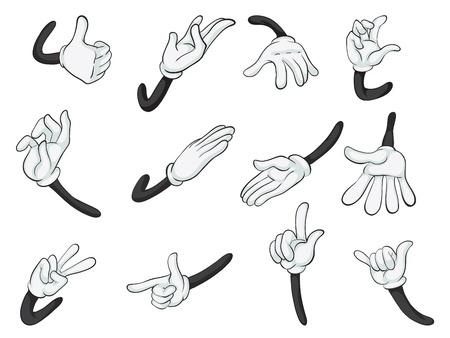 sign language: illustration of various hands on a white background Illustration