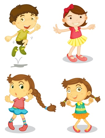 woman jump: illustration of four kids on a white background