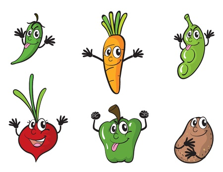 beetroot: illustration of various vegetables on a white background