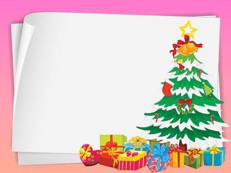 illustration of paper sheets and gift boxes on a pink background Vector