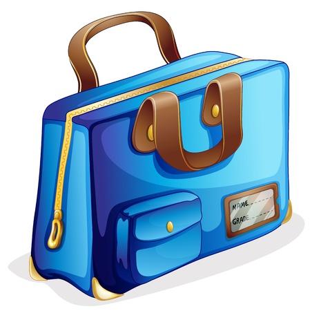 illustrazione di una borsa blu su sfondo bianco