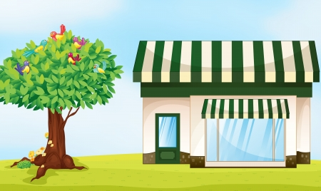 building material: illustration of a house and a tree in a beautiful nature
