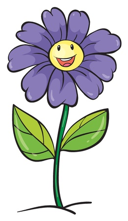 green smiley face: detailed illustration of a purple flower on a white background Illustration