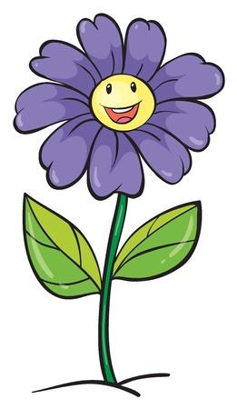blue smiling: detailed illustration of a purple flower on a white background Illustration