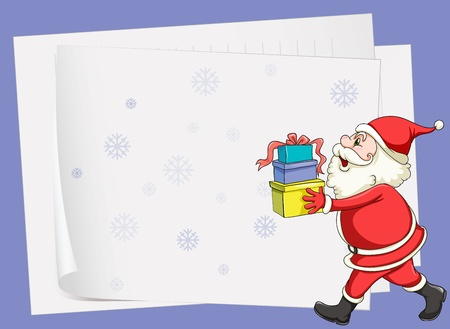 illustration of paper sheets and santa claus on a blue background Vector