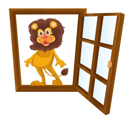 detailed illustration of a lion in a window Stock Vector - 16027153