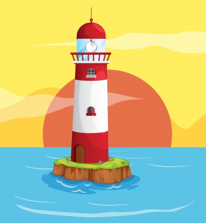 illustration of an ocean and a light house in a beautiful nature Vector