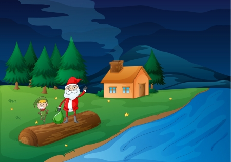 illustration of santa clause and an elve in nature Vector