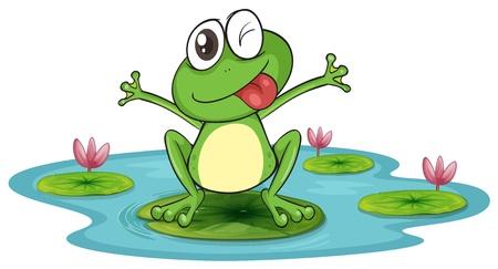 Ilustración de una rana y agua en un fondo blanco Ilustración de vector