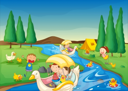 birds scenery: illustration of a river and kids in a beautiful nature