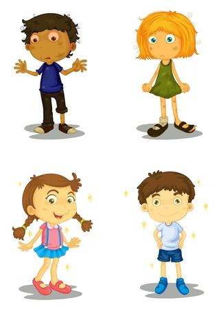 cartoon jongen: illustratie van vier kinderen op een witte achtergrond