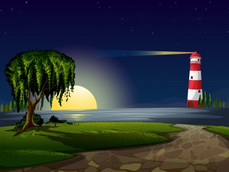 illustration of a light house and stars in night sky Vector