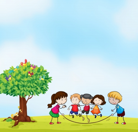 jump rope: illustration of kids and a tree in beautiful nature