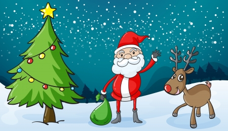 detailed illustration of a reindeer and santa claus Vector