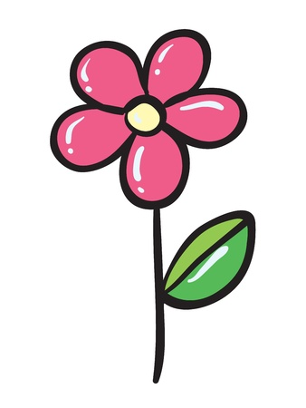green flower: detailed illustration of a pink flower on a white background