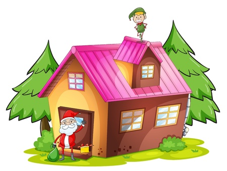 detailed illustration of an elve and santa claus on a white background