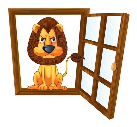 angry lion: detailed illustration of a lion in a window