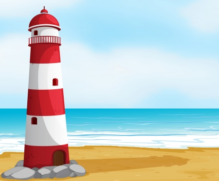marine scene: illustration of the sea and a light house in a beautiful nature Illustration