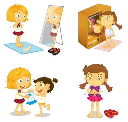 niños vistiendose: ilustración de las niñas sobre un fondo blanco