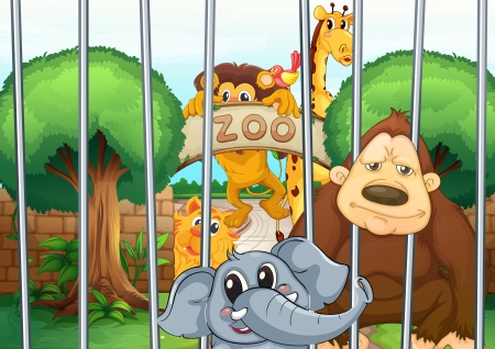 zoo animals: illustration of a zoo and the animals in a beautiful nature Illustration