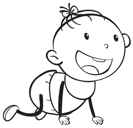 Sketch of a baby on a white background Vector