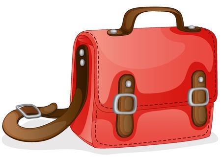 mochila escolar: Ilustración de una bolsa de color rojo sobre un fondo blanco