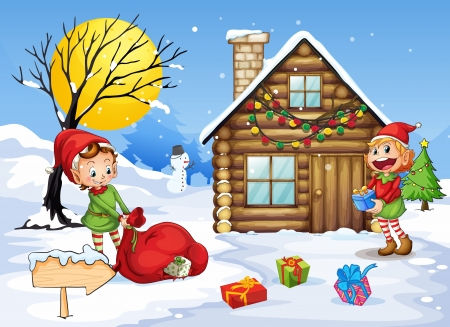 illustration of elves and a snow man in nature Illustration
