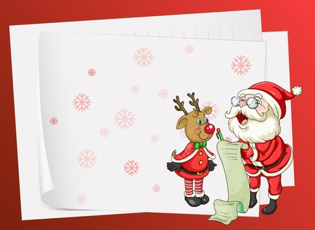 illustration of paper sheets, santa claus and a reindeer on a red background Vector