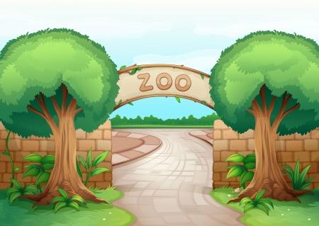 ilustración de un zoológico en una hermosa naturaleza