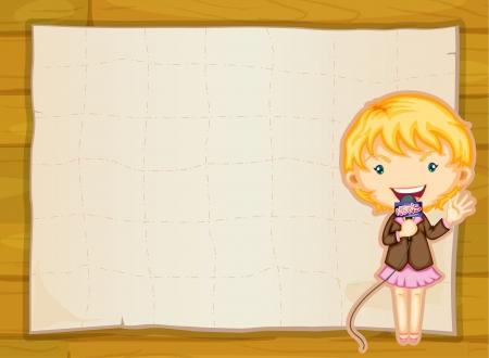 niños con pancarta: ilustración de una chica y la hoja de papel en fondo amarillo Vectores