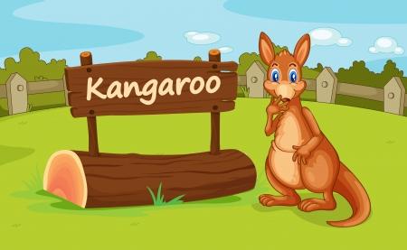 Illustration eines Känguruhs in einer wunderschönen Natur Illustration