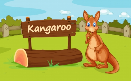 wild nature wood: illustration of a kangaroo in a beautiful nature