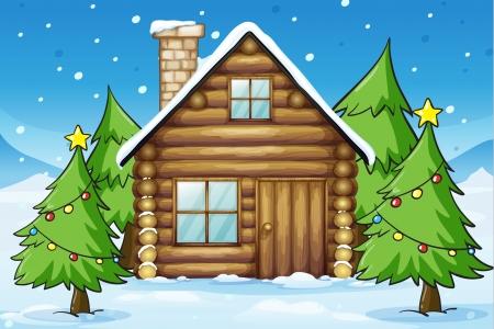 illustratie van een houten huis in besneeuwde land Stock Illustratie