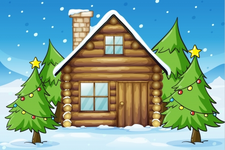 Illustration Of A Wooden House In Snowy Land
