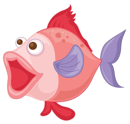 illustration of a pink fish on a white background Vector