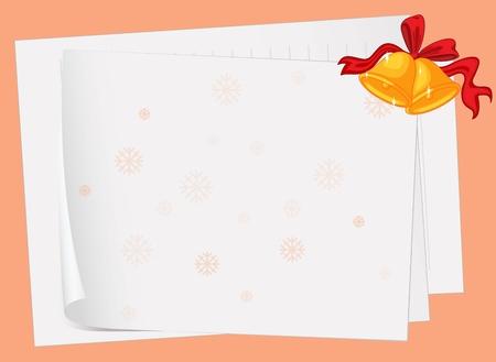 comida de navidad: ilustración de las hojas de papel y campanas en rosa Vectores