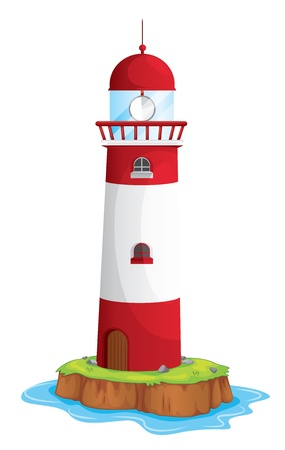 lighthouse beam: illustration of a light house on a white background