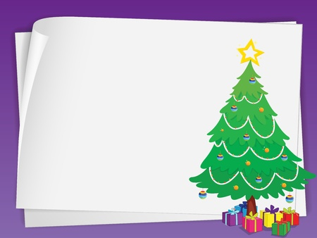 illustration of paper sheets ans chritmas tree Vector