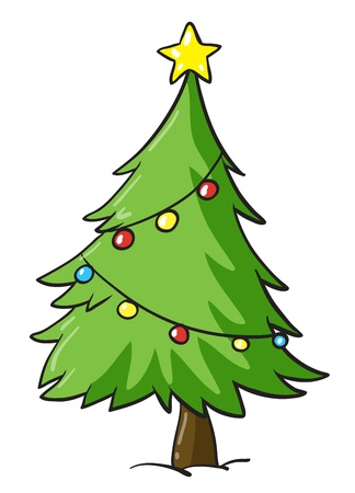 decorated christmas tree: illustration of a christmas tree on a white background Illustration